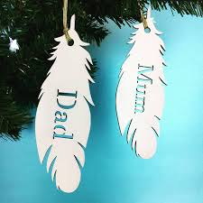 personalised white feather name christmas decoration by floppsie