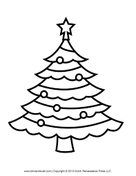 christmas tree outline printable coloring picture hd for kids