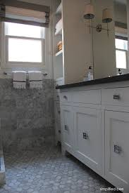 White Vanities Bathroom Design Reveal Marble Bathroom Simplified Bee