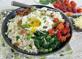hearty rice bowl with roasted tomatoes bacon u0026 spinach recipe
