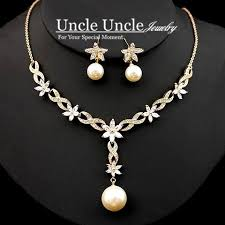 pearl rhinestone necklace images Rose gold plated high quality artificial pearl rhinestone daisy jpg