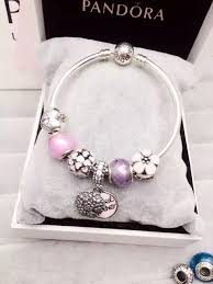 pandora silver bangle charm bracelet images 50 off 179 pandora bangle charm bracelet pink purple hot jpg