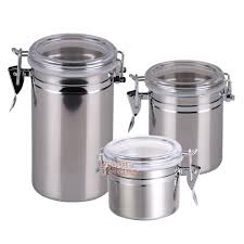 stainless steel airtight sealed canister coffee flour sugar tea