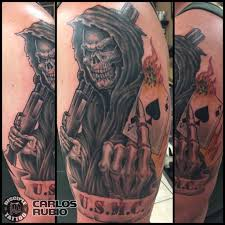 carlosrubio angel of death full color tattoo reaper tattoo poker