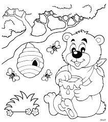 dessin à imprimer et à colorier un ourson des abeilles et un pot
