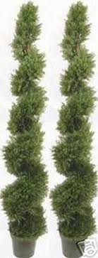 two 6 foot 4 inches artificial cypress spiral topiary