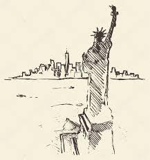 sketch new york city skyline statue liberty drawn u2014 stock vector