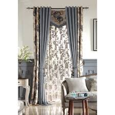 Linen Valance Beige And Blue Botanical Print Linen Country Custom Curtains