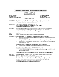Sample Resume Education by Sample Resume By A First Year Student Free Download