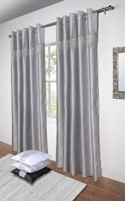 Eyelet Curtains Diamante U0027 Fully Lined Silver Faux Silk Ready Made Eyelet Curtains