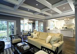 white kitchen coffered ceiling in family room dream home