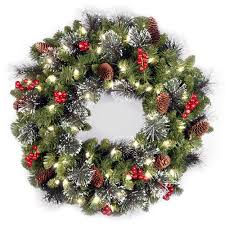 national tree pre lit 24 crestwood spruce wreath with 50 clear