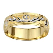 14k gold wedding band 14k gold men s milligrain cross and leaf design wedding band