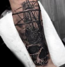 monochromatic skull and ship forearm amazing ideas