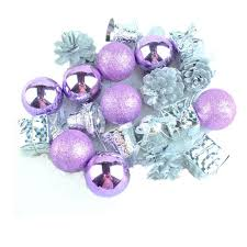 20 pcs 5 kinds decorations light purple and silver tree