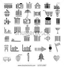 Barcode Designs For Illustration Collection Barcode Design Stock Vector 123711067
