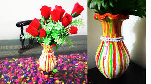 Flower Vase Crafts How To Make Beautiful Flower Vase Diy Flower Vase Painting Youtube