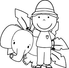 zoo keeper and elephant coloring page wecoloringpage