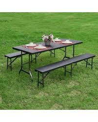 portable folding picnic table big deal on ikayaa 6ft portable folding cing picnic table chairs