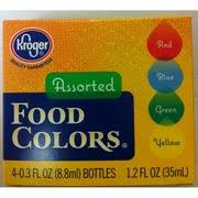 kroger food colors red blue green yellow calories nutrition