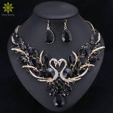 crystal bridal necklace sets images Black crystal bridal jewelry sets gold color swan pendant necklace jpg