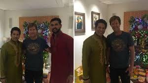 guess who dropped in to welcome bappa at sachin tendulkar u0027s house