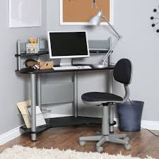 Small Apartment Desks Black And Silver Corner Computer Desk With Shelves Black And