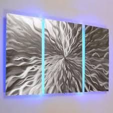 modern abstract metal wall art color changing led lighting