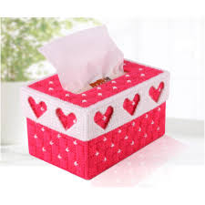 diy handmade 3d cross stitch embroidery tissue box case holder for