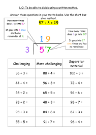 ks2 division written method bus stop method by jodieclayton