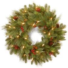 buy pre lit wreaths with batteries from bed bath beyond