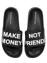 make money not friends logo slide sandals in black for men lyst