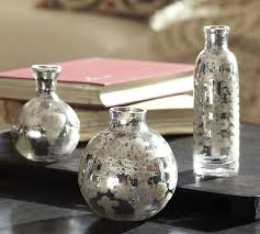 How To Make A Mercury Glass Vase Etched Mini Mercury Glass Vases Set Of 3 Pottery Barn