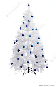 White Christmas Tree With Blue Decorations Photograph Of Christmas Tree