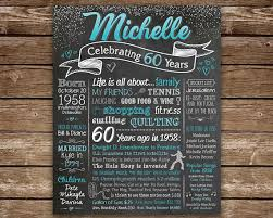 gift 60 year woman 60th birthday chalkboard for woman 1958 facts celebrating 60
