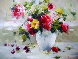 paintings of flowers in a clear vase yahoo image search results