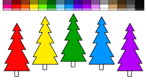 learn colors for kids and color evergreen christmas trees coloring