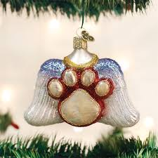 beloved pet ornament glass wings paw print ornaments dogs
