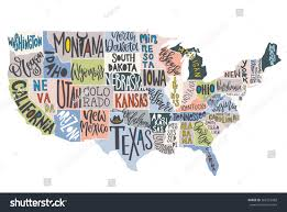 America Map With States by Usa Map States Pictorial Geographical Poster Stock Vector