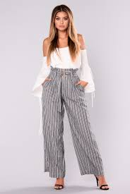Katrina Model Com by Stripe Pants Navy