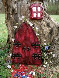 Fairies For Garden Decor Large Fairy Door Set Large Red Medieval Fairy Door Fairy Garden