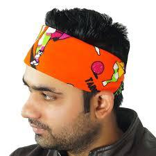 headband men orange printed men s scarf cotton kerchief wrap hanky bandana