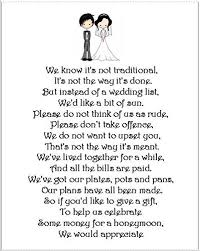 wedding gift poems wedding money gift request poem cards for wedding invitations
