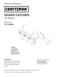 craftsman lawn mowers grass catcher 917 24898 pdf user u0027s manual