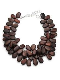 wood jewelry necklace images Lyst nest ebony wood teardrop cluster necklace in brown jpeg