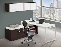 L Shaped Modern Desk by Modern L Shaped Desk With Executive Hutch U0026 Cabinets Set