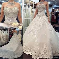 discount 2018 luxury ball gown bling wedding dresses with halter