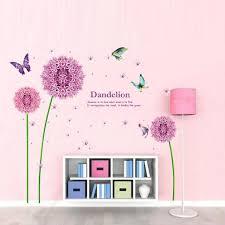 pink dandelion flower butterfly diy vinyl wall stickers home decor