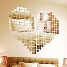 heart of hearts 100 piece self adhesive tile 3d mirror wall decal heart of hearts 100 piece self adhesive tile 3d mirror wall decal stickers