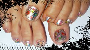 multicolor flowers summer toe nail design youtube